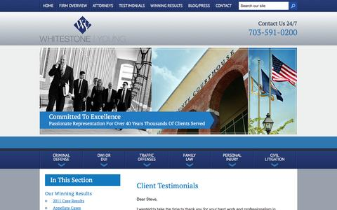 Screenshot of Testimonials Page wbymlaw.com - Client Testimonials | Whitestone Young, PC | Fairfax, Virginia - captured Feb. 14, 2016
