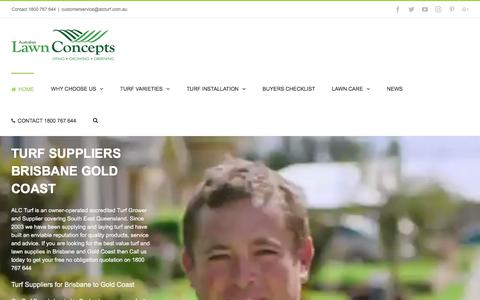 Screenshot of Home Page alcturf.com.au - Turf Grass Suppliers Brisbane Gold Coast: ALC Turf Lawn Concepts - captured Oct. 9, 2017