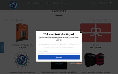 Screenshot of Products Page globalodyssi.com - Products - Global Odyssi - captured July 14, 2016