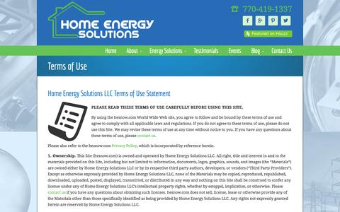 Screenshot of Terms Page hesnow.com - Terms of Use • Home Energy Solutions - captured Oct. 3, 2014