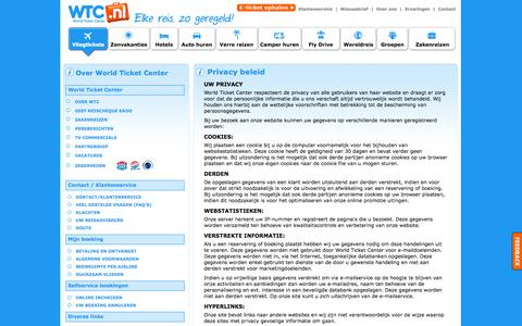 Screenshot of Privacy Page worldticketcenter.nl - Klantenservice WTC.NL - World Ticket Center Amsterdam: Privacy Statement - captured Oct. 25, 2014