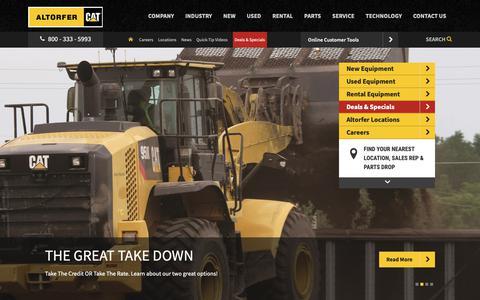 Screenshot of Home Page altorfer.com - Buy Construction Equipment For Sale | Altorfer Cat Dealer IL, IA, MO - captured Feb. 11, 2019