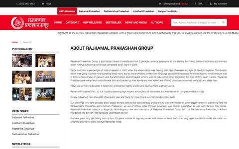 Screenshot of About Page rajkamalprakashan.com - About Us - captured Feb. 13, 2016