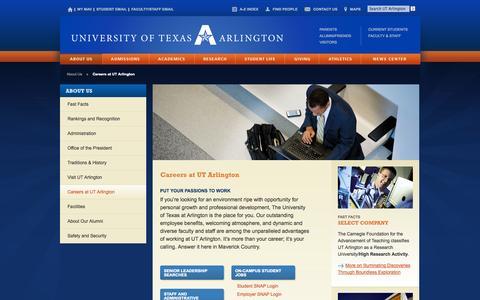 Screenshot of Jobs Page uta.edu - Careers at UT Arlington - UT Arlington - captured Sept. 19, 2014
