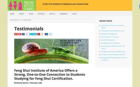 Screenshot of Testimonials Page feng-shui-institute-of-america.com - Testimonials - Feng Shui Institute of America - - captured Jan. 29, 2018