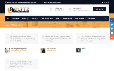 Screenshot of Testimonials Page glitztechnology.com - Testimonials - Glitz Technology - captured Sept. 28, 2018