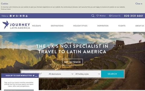 Screenshot of Home Page journeylatinamerica.co.uk - Central & South America Holidays  - Journey Latin America - captured June 8, 2017
