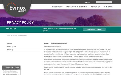 Screenshot of Privacy Page evinoxenergy.co.uk - Privacy Policy Evinox Energy - captured July 22, 2018
