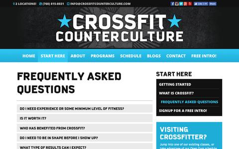 Screenshot of FAQ Page crossfitcounterculture.com - Frequently Asked Questions - CrossFit Counter Culture - captured May 23, 2017