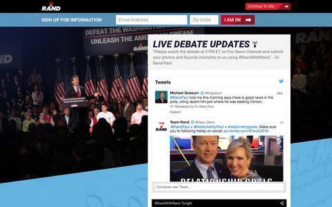 Screenshot of Home Page randpaul.com - Rand Paul for President - captured Aug. 6, 2015