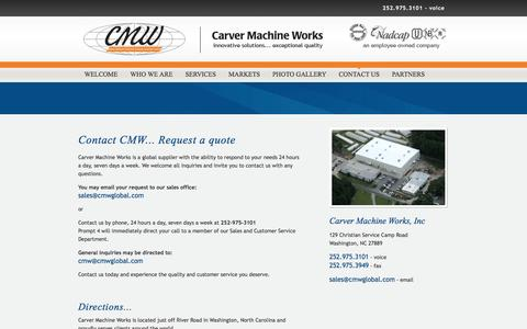 Screenshot of Contact Page Maps & Directions Page cmwglobal.com - Contact Carver Machine Works - captured Oct. 2, 2014