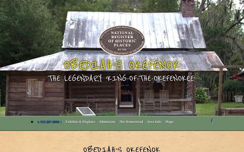 Screenshot of Home Page okefenok.com - Obediah's Okefenok | The legendary 'King-of-the-Okefenokee' - captured Oct. 11, 2015