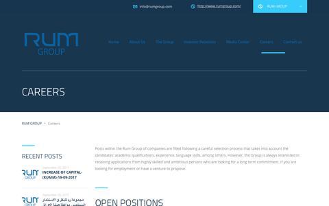 Screenshot of Jobs Page rumgroup.com - Careers – RUM GROUP - captured Sept. 21, 2018