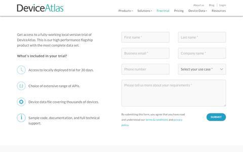Screenshot of Trial Page deviceatlas.com - DeviceAtlas Enterprise/OEM Trial Sign Up - captured Oct. 29, 2017