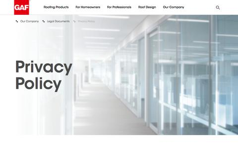 Screenshot of Privacy Page gaf.com - GAF | Privacy Policy - captured April 15, 2018