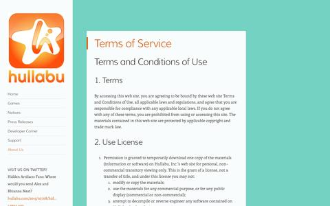 Screenshot of Terms Page hullabu.com - Terms of Service | hullabu - captured Nov. 12, 2016