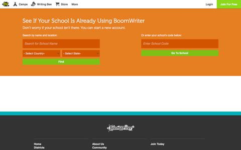 Screenshot of Signup Page boomwriter.com - Index - captured July 13, 2018