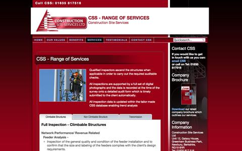 Screenshot of Services Page constructionsiteservices.co.uk - CSS - Range of Services - Construction Site Services - captured Oct. 2, 2014