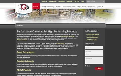 Screenshot of Products Page gabepro.com - Epoxy Resins & Specialty Lubricants || Gabriel Performance Products - captured Oct. 1, 2014