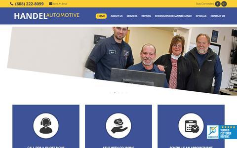 Screenshot of Home Page handelauto.com - Home - Handel Automotive Services - captured Oct. 20, 2016