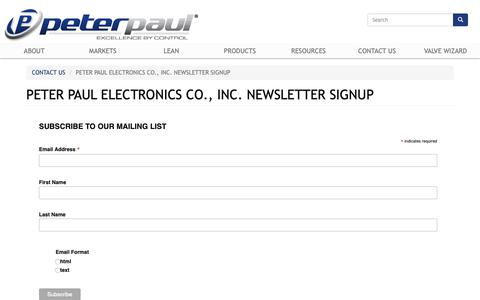 Screenshot of Signup Page peterpaul.com - Peter Paul Electronics Co., Inc. Newsletter Signup | Peter Paul - captured Sept. 27, 2018