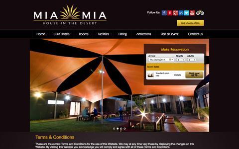 Screenshot of Terms Page miamia.com.au - Terms & Conditions | Mia Mia Newman - captured Oct. 27, 2014