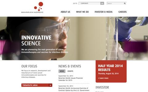 Screenshot of Home Page bavarian-nordic.com - Bavarian Nordic - captured Sept. 30, 2014