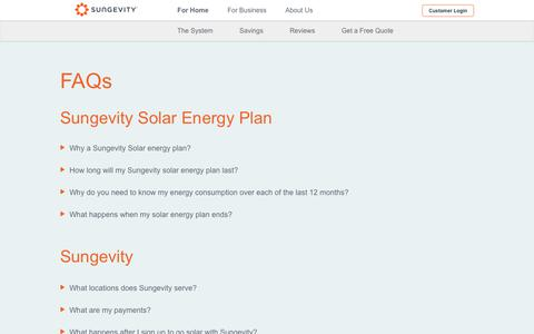 Screenshot of FAQ Page sungevity.com - Solar Energy Facts, How Solar Panels Work - FAQs - Sungevity - captured May 18, 2019