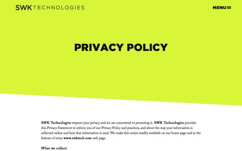 Screenshot of Privacy Page swktech.com - Privacy Policy - captured Nov. 18, 2016