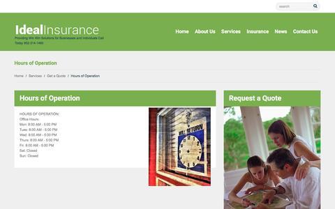 Screenshot of Hours Page bestdarninsurance.com - Hours of Operation | Ideal Insurance Agency Inc - captured Nov. 23, 2016