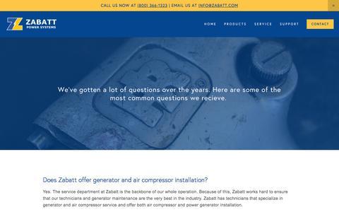 Screenshot of FAQ Page zabatt.com - FAQ — Zabatt Power Systems - captured Feb. 13, 2016