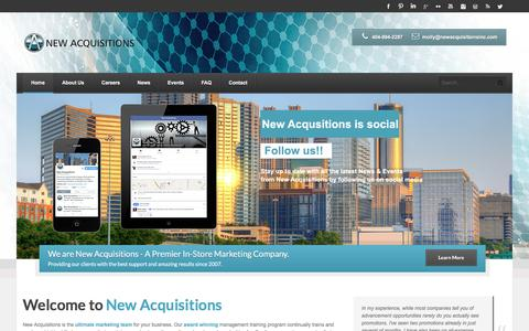 Screenshot of Home Page newacquisitionsinc.com - New Acquisitions - captured Feb. 26, 2016