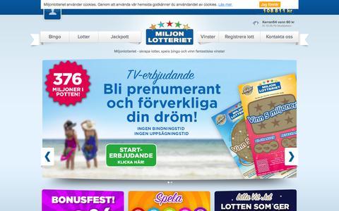 Screenshot of Home Page miljonlotteriet.se - Miljonlotteriet - Spela online och vinn dr�mvinster! - captured Jan. 10, 2016