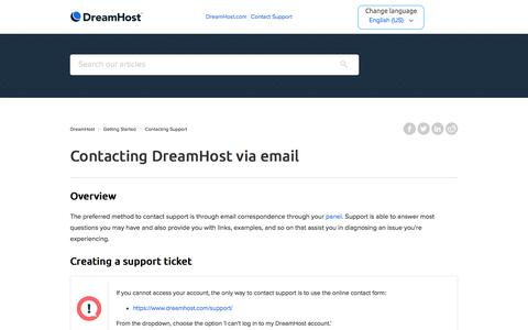Screenshot of Support Page dreamhost.com - Contacting DreamHost via email – DreamHost - captured Feb. 21, 2020