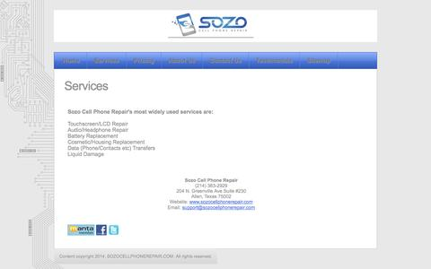 Screenshot of Services Page sozocellphonerepair.com - Sozo Cell Phone Repair - Services - captured Sept. 30, 2014