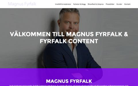 Screenshot of Home Page fyrfalk.se - Magnus Fyrfalk – Innehållsproducent, moderator, programledare - captured Feb. 10, 2016