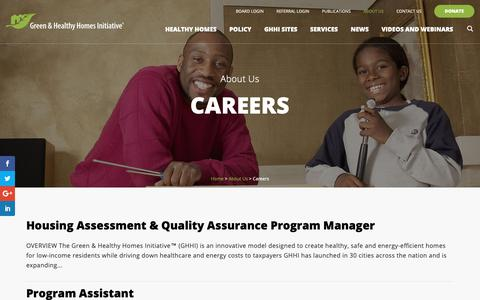 Screenshot of Jobs Page greenandhealthyhomes.org - Careers - Green and Healthy Homes Initiative - captured Sept. 28, 2018