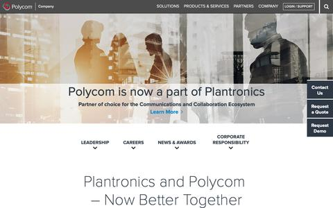 Screenshot of About Page polycom.com - Company - Telepresence, Video and Voice Conferencing - Polycom, Inc. - captured Feb. 13, 2019