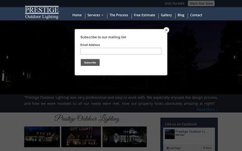 Screenshot of Home Page prestigeoutdoorlighting.com - Prestige Outdoor Lighting | Unique Walkway Lights & Garden Lamps - captured Nov. 5, 2018