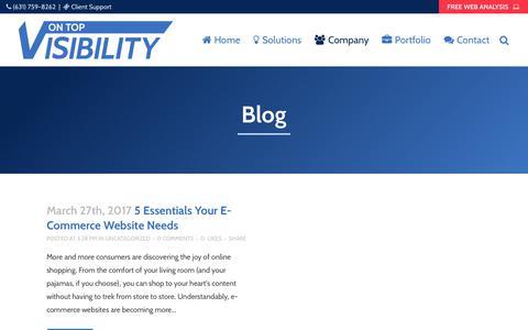 Screenshot of Blog ontopvisibility.com - www.ontopvisibility.com/blog/ - captured Nov. 13, 2017