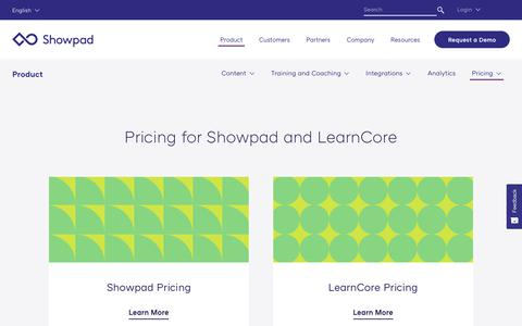 Screenshot of Pricing Page showpad.com - Pricing Request | Sales Enablement Pricing | Showpad - captured March 13, 2019