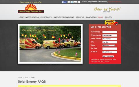 Screenshot of FAQ Page solarsaves.net - Solar Power Maryland | Frequently Asked Questions | Solar Energy Services | (410) 923-6090 - captured Oct. 6, 2014