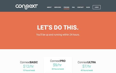Screenshot of Pricing Page connextcorp.com - Pricing - captured Oct. 3, 2014