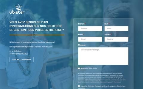 Screenshot of Contact Page ubister.fr - Contactez nos services de conseil en business intelligence | Ubister - captured July 24, 2018