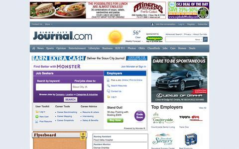 Screenshot of Jobs Page siouxcityjournal.com - Jobs - captured Oct. 26, 2014