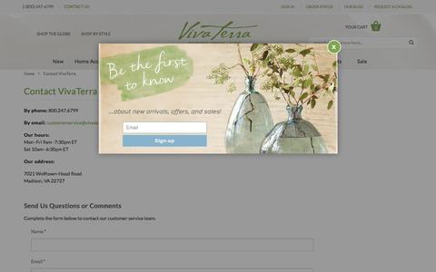 Screenshot of Contact Page vivaterra.com - Contact VivaTerra | VivaTerra - captured Nov. 23, 2015