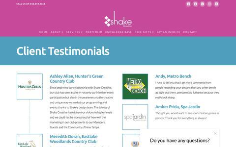 Screenshot of Testimonials Page shaketampa.com - Testimonials - Shake Creative - Graphic Design, Marketing, & Branding Tampa, Florida - captured Oct. 18, 2018