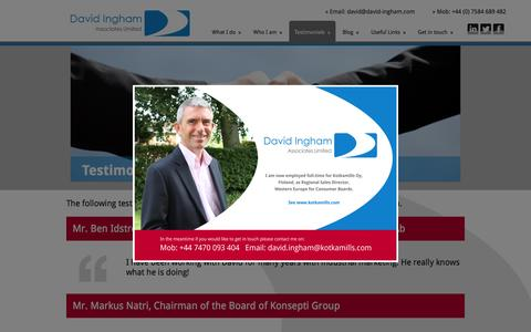 Screenshot of Testimonials Page david-ingham.com - Testimonials - David Ingham Associates Ltd - captured Feb. 8, 2016