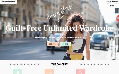 Screenshot of Home Page rentez-vous.com - Designer Outlet Online, Womens Fashion Clothing Websites, Clothes Shopping London - captured Jan. 11, 2016