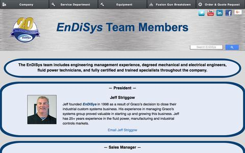 Screenshot of Team Page endisys.com - THE EnDiSys TEAM - captured July 19, 2018